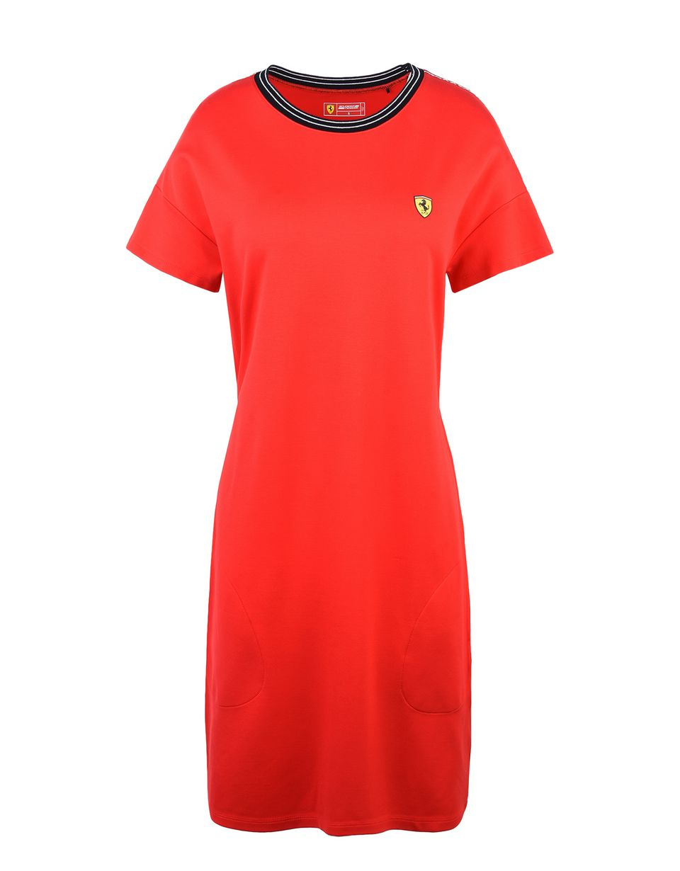 Scuderia Ferrari Online Store - Dress with Scuderia Ferrari Icon Tape - Short Dresses