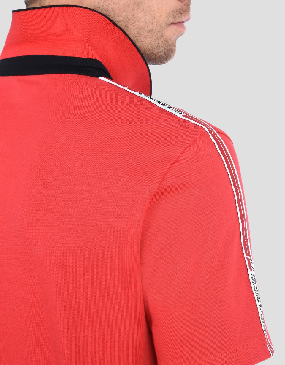 Scuderia Ferrari Online Store - 细罗纹针织衣领 <br/>法拉利车队<i>标志性饰带</i> <br/>法拉利盾形徽标 - 短袖 Polo 衫