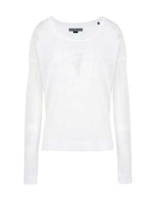 Scuderia Ferrari Online Store - Women's long-sleeve tricot sweater with Shield - Crew Neck Sweaters