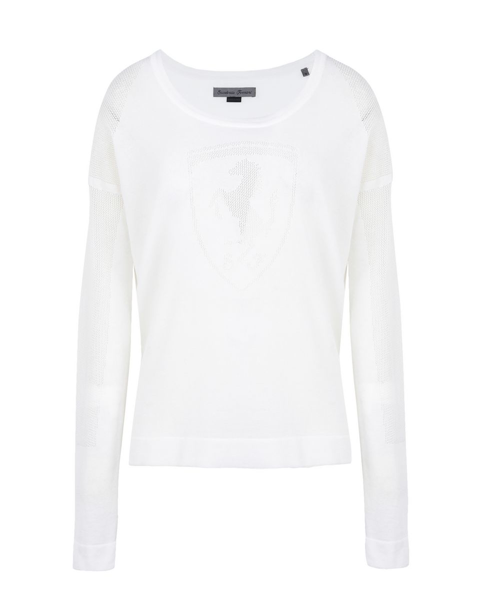 Scuderia Ferrari Online Store - Women's long-sleeve tricot sweater with Shield - Crew Neck Jumpers
