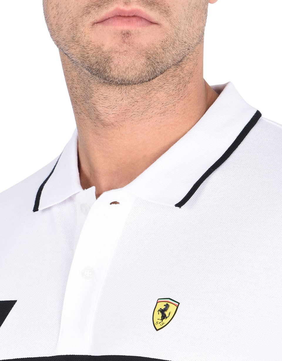 Scuderia Ferrari Online Store - Piqué cotton polo shirt with geometric print -