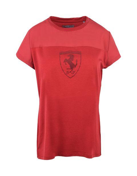 Scuderia Ferrari Online Store - Oversize-T-Shirt mit Rundhalsausschnitt und Ferrari-Abzeichen - Kurzärmelige T-Shirts