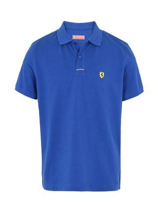 Scuderia Ferrari Online Store - Piqué cotton polo shirt with Shield on the breast -