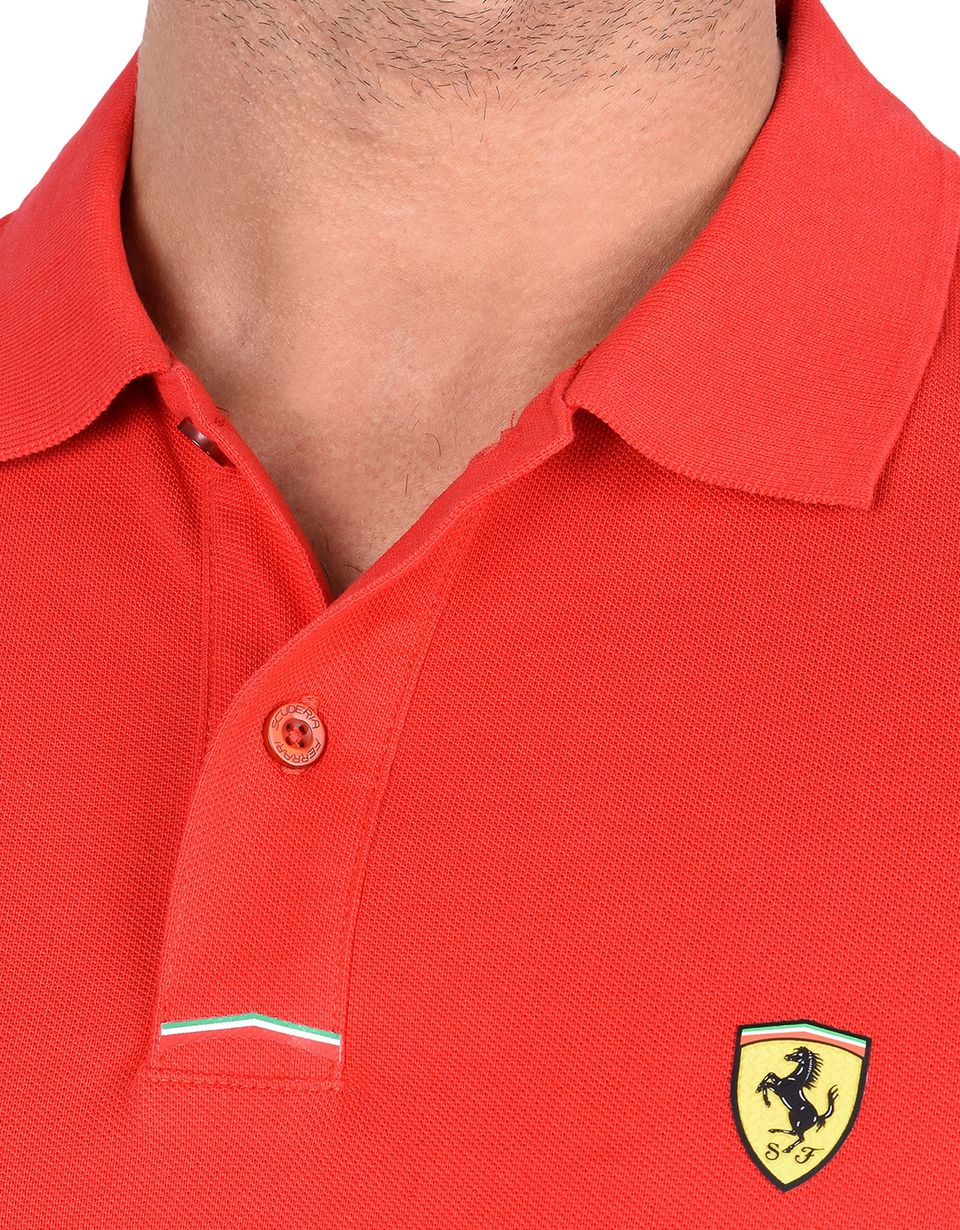 Scuderia Ferrari Online Store - Piqué cotton polo shirt with Shield on the breast -
