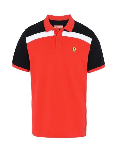 Scuderia Ferrari Online Store - Short-sleeve polo shirt with Shield on the breast - Short Sleeve Polos