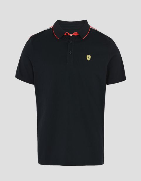 Scuderia Ferrari Online Store - Polo shirt with Scuderia Ferrari Icon Tape - Short Sleeve Polos