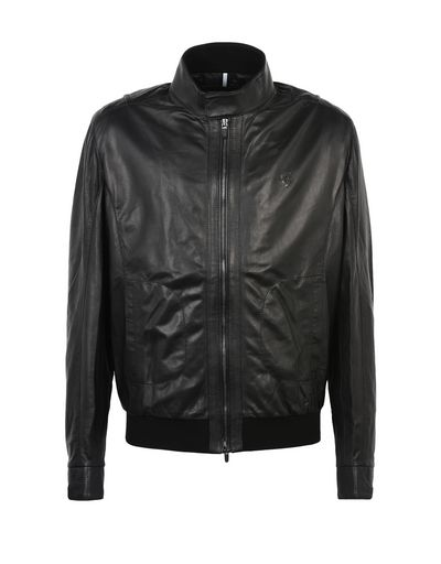 Scuderia Ferrari Online Store - Men's leather bomber jacket - Leather Jackets