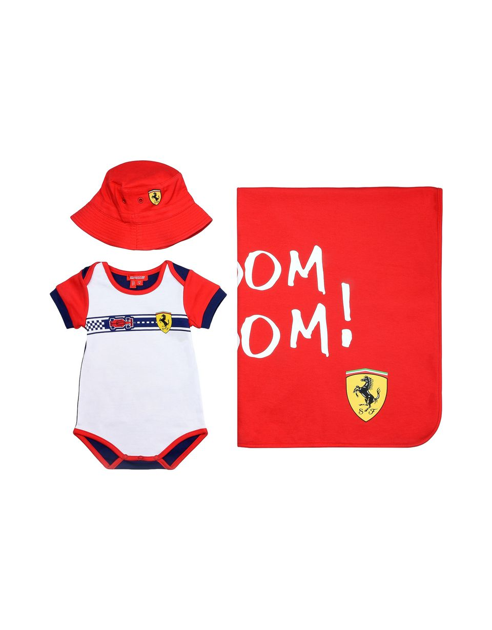 Scuderia Ferrari Online Store - Baby boys gift set with bodysuit, cap and baby blanket - Baby & Kids Sets