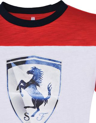 Scuderia Ferrari Online Store - Two-tone T-shirt for teens in slub jersey -
