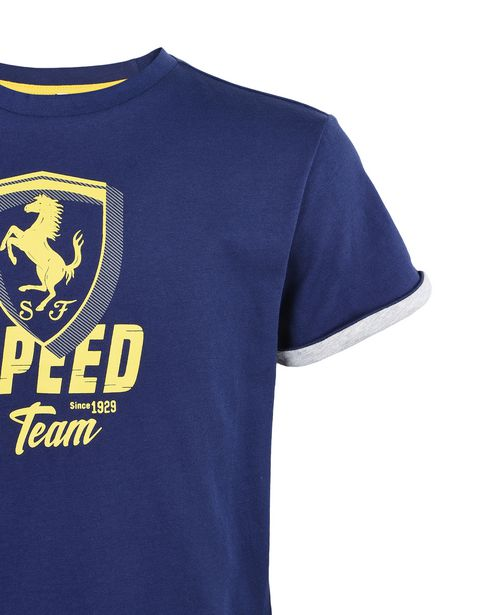 "Scuderia Ferrari Online Store - Solid color T-shirt for teens with ""Speed"" graphic -"