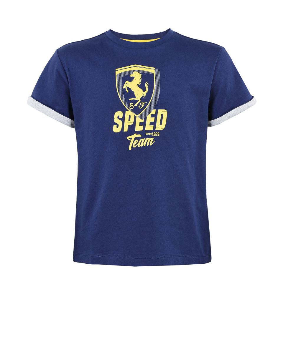 "Scuderia Ferrari Online Store - Solid colour T-shirt for teens with ""Speed"" graphic - Short Sleeve T-Shirts"