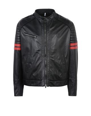 Scuderia Ferrari Online Store - Men's leather jacket with suede piping - Leather Jackets