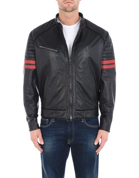 Men's leather jacket with suede piping