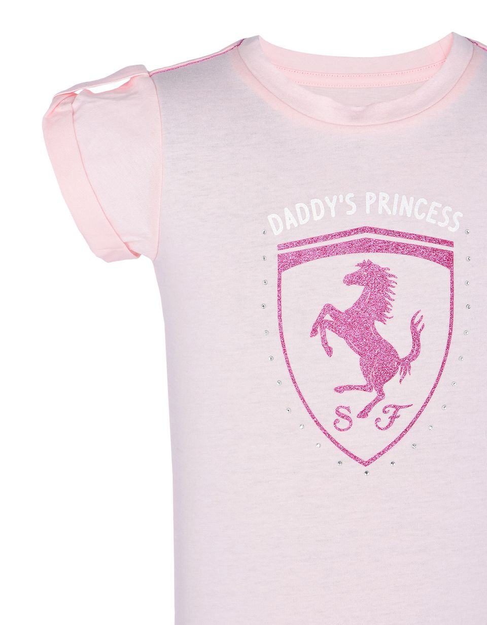 Scuderia Ferrari Online Store - Short-sleeve cotton dress for girls - Short Dresses