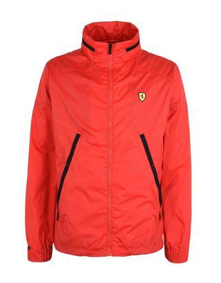 Scuderia Ferrari Online Store - Men's water-repellent jacket with concealed hood - Raincoats