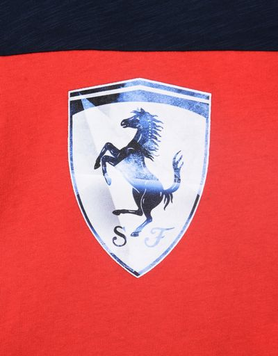 Scuderia Ferrari Online Store - Two-tone T-shirt for teens in slub jersey - Short Sleeve T-Shirts