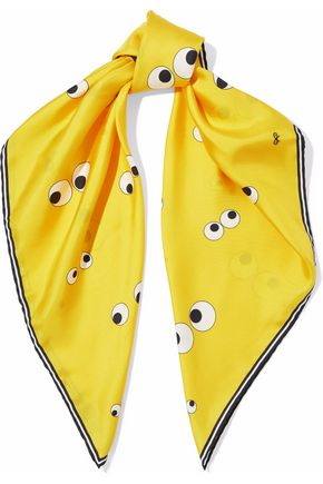 ANYA HINDMARCH Printed silk-satin faille scarf