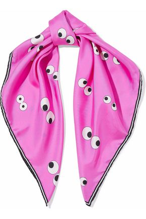 ANYA HINDMARCH Printed silk-satin twill scarf