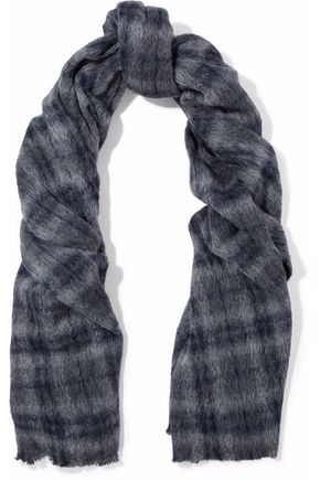 BRUNELLO CUCINELLI Checked alpaca and wool-blend scarf