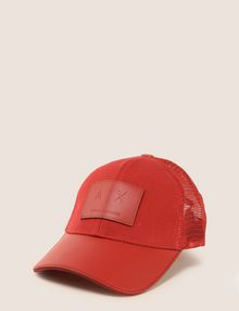 ARMANI EXCHANGE FAUX-LEATHER LOGO PATCH HAT Hat Man f