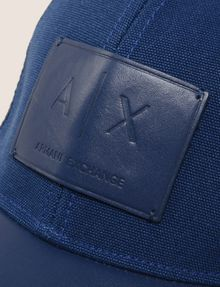 ARMANI EXCHANGE FAUX-LEATHER LOGO PATCH HAT Hat Man d