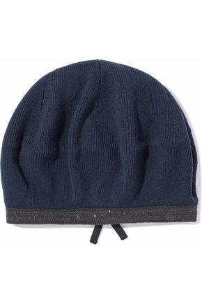 BRUNELLO CUCINELLI Embellished ribbed cashmere beret
