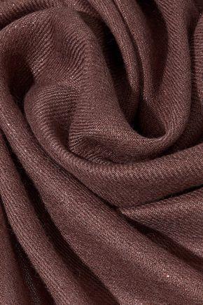 BRUNELLO CUCINELLI Fringe-trimmed twill scarf