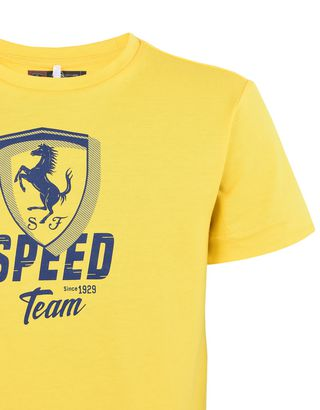 "Scuderia Ferrari Online Store - Solid color T-shirt for teens with ""Speed"" graphic - Short Sleeve T-Shirts"