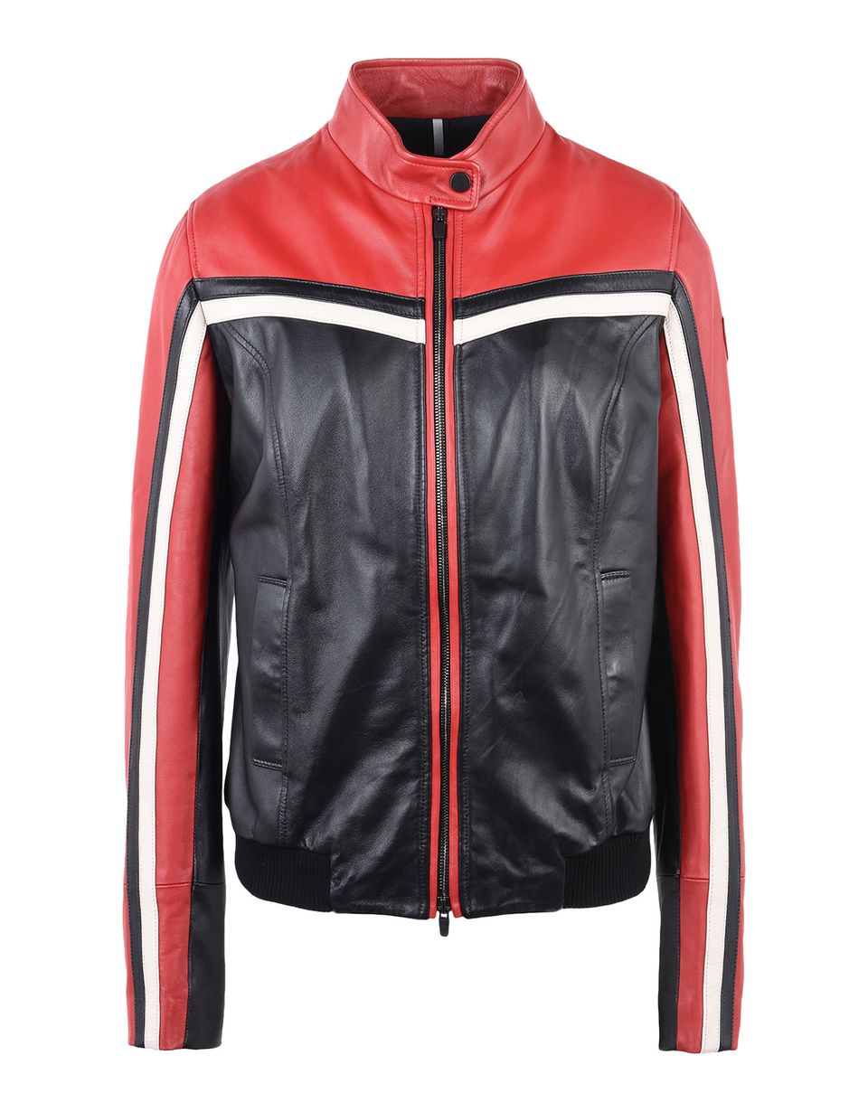 Scuderia Ferrari Online Store - Women's leather biker jacket - Leather Jackets