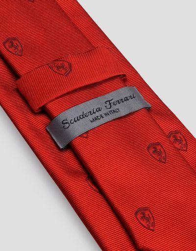 Scuderia Ferrari Online Store - Jacquard-Krawatte mit Ferrari-Abzeichen - Bedruckte Krawatten