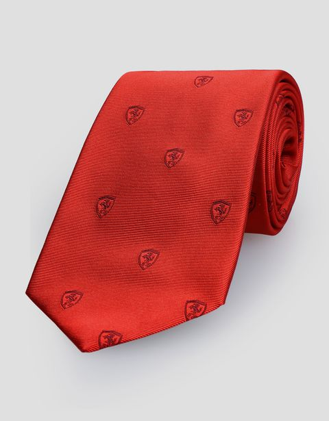 Jacquard tie with Ferrari Shield