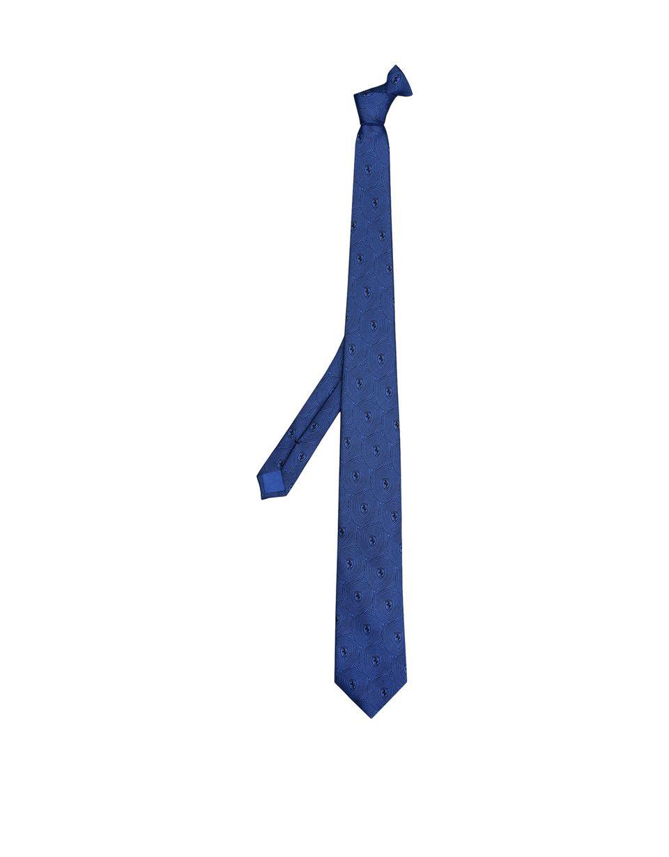 Scuderia Ferrari Online Store - Krawatte aus reiner Seide mit Ferrari-Abzeichen - Bedruckte Krawatten
