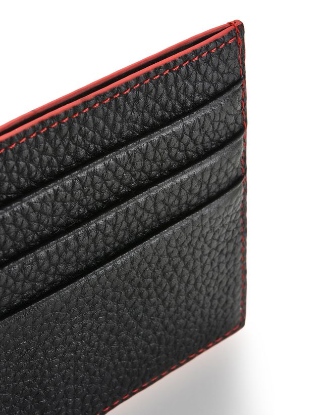 Scuderia Ferrari Online Store - Men's credit card wallet in hammered leather - Credit Card Holders