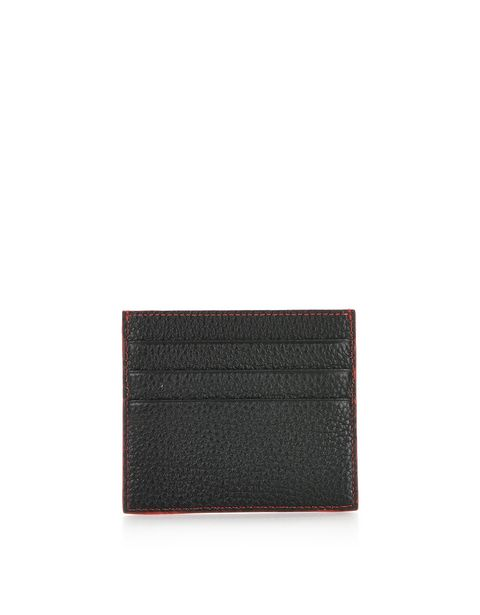 Men's credit card wallet in hammered leather