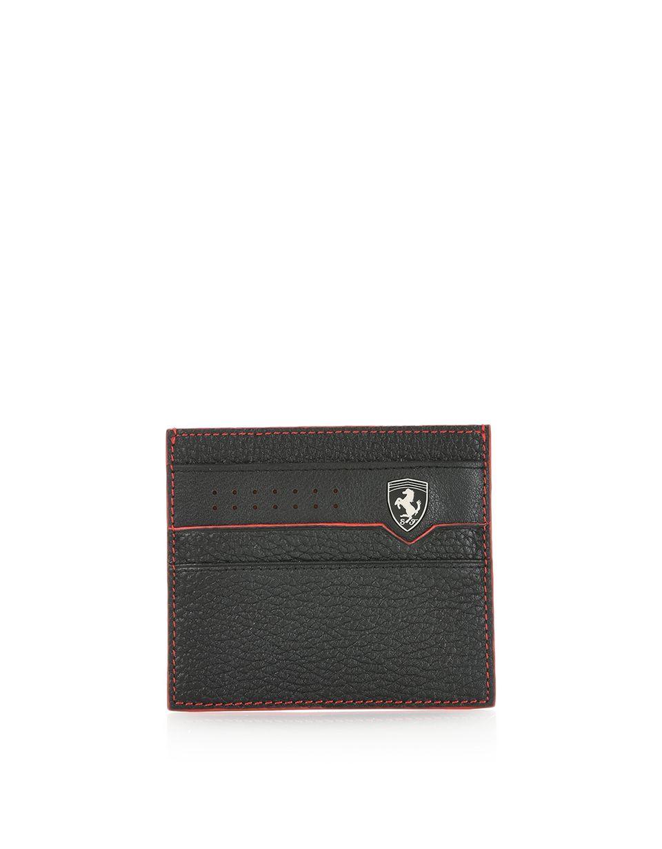Scuderia Ferrari Online Store - Porte-cartes pour homme en cuir martelé - Porte-cartes