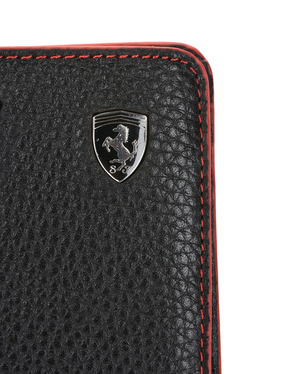 Scuderia Ferrari Online Store - Men's wallet in hammered leather - Horizontal with coin Wallets