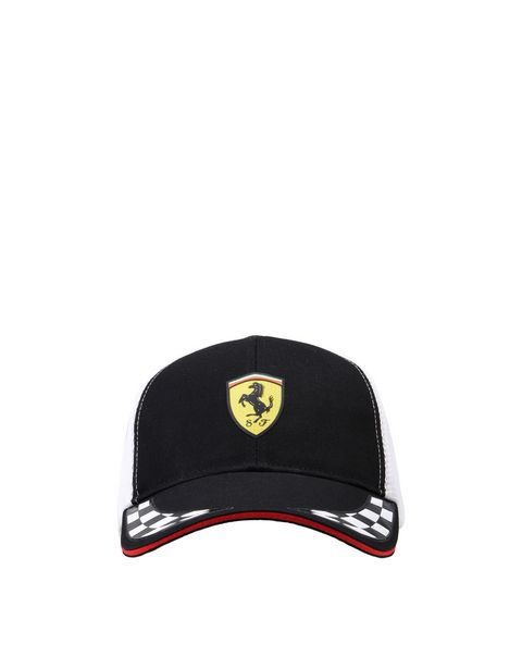 Scuderia Ferrari cab with visor in cotton and technical fabric