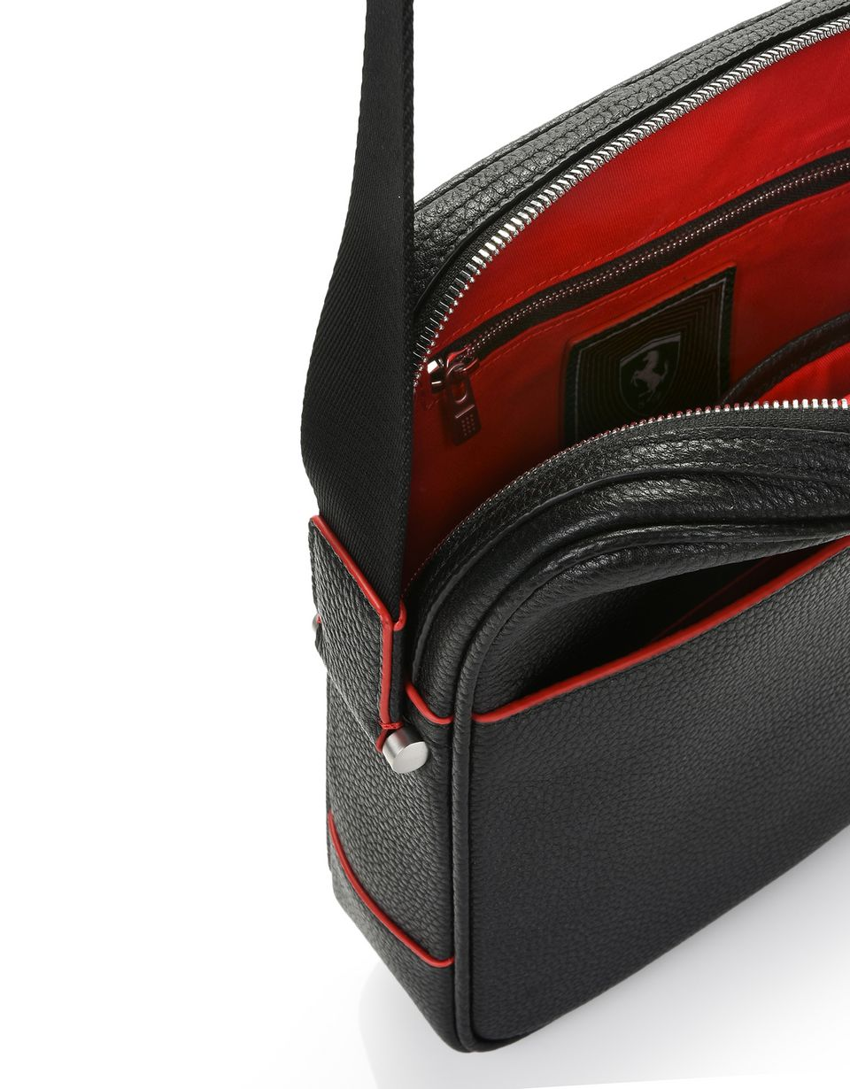 Scuderia Ferrari Online Store - Crossbody bag in hammered leather - Messenger Bags