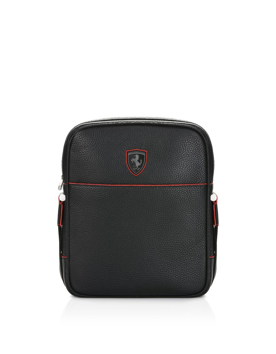 Scuderia Ferrari Online Store - Crossbody bag in hammered leather -