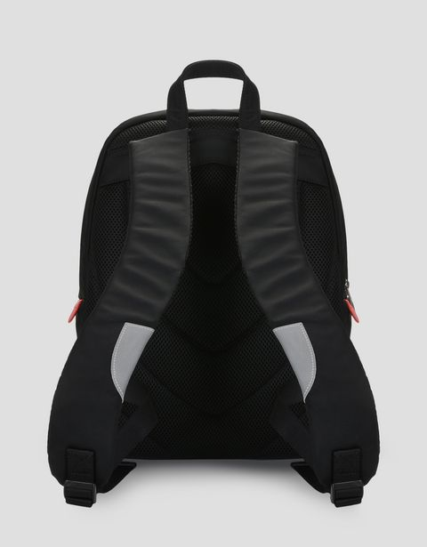 Laptop backpack in embroidered technical fabric