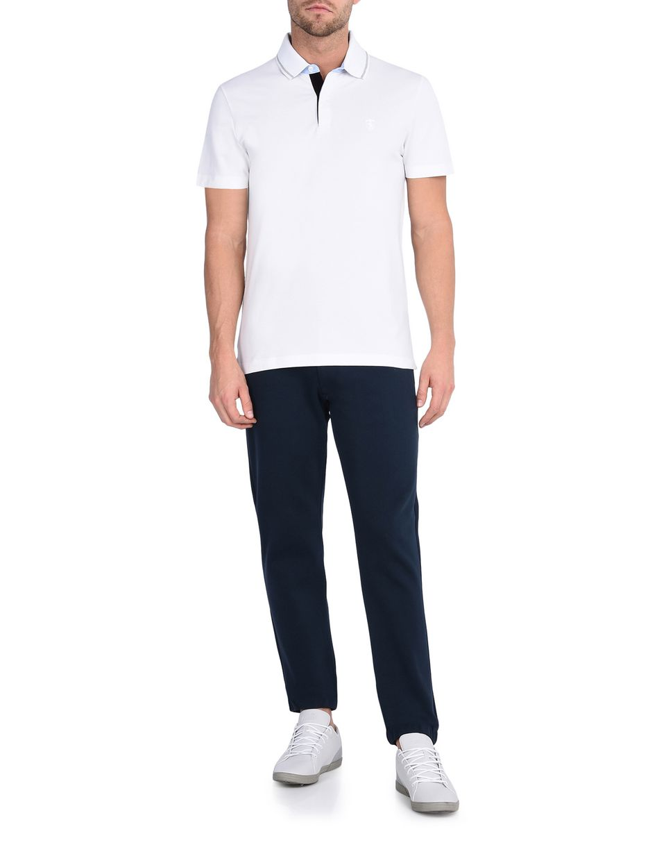 Scuderia Ferrari Online Store - Breathable cotton jersey trousers with Scuderia Ferrari label - Chinos