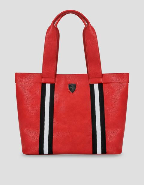 Women's red faux leather Scuderia Ferrari bag