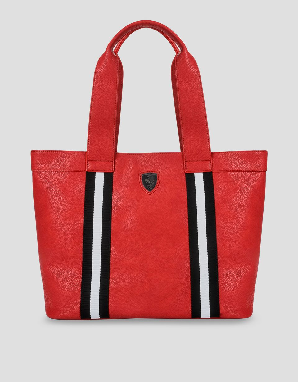 Scuderia Ferrari Online Store - Women's red faux leather Scuderia Ferrari bag - Tote Bags