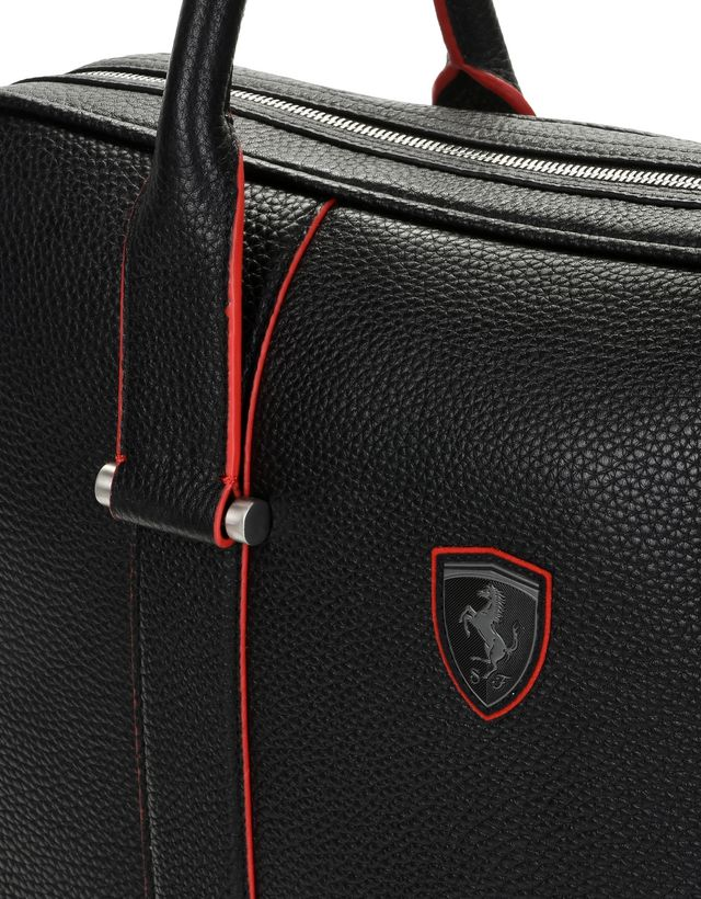 Scuderia Ferrari Online Store - Women's laptop bag in hammered calfskin leather - Briefcase Bags