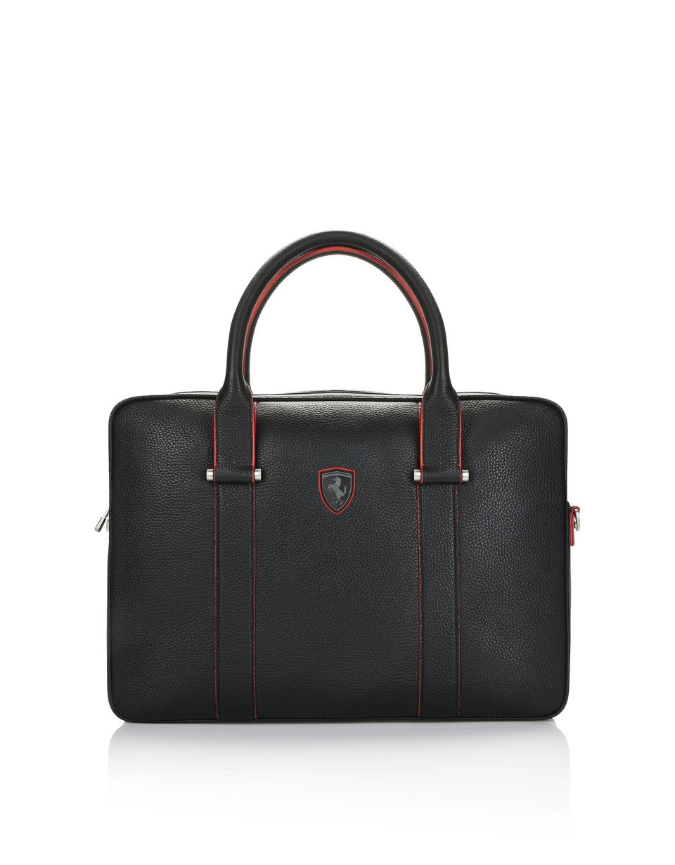 Scuderia Ferrari Online Store - Women's laptop bag in hammered calfskin leather - Briefcase Bags