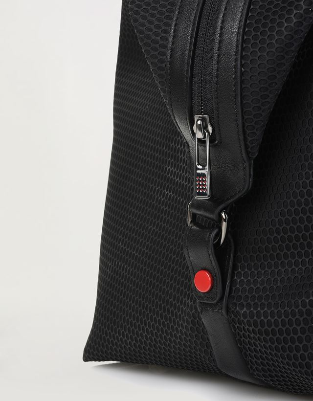 Scuderia Ferrari Online Store - Shoulder bag in perforated technical fabric and leather -