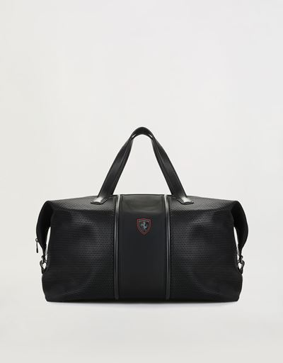 Hypergrid shoulder bag in perforated technical fabric and leather