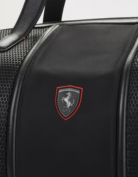 Scuderia Ferrari Online Store - Shoulder bag in perforated technical fabric and leather - Duffle Bags