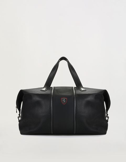 Shoulder bag in perforated technical fabric and leather