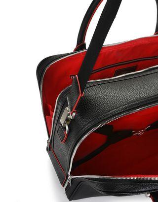 Scuderia Ferrari Online Store - Sac de voyage en cuir de veau martelé - Sacs à poignée